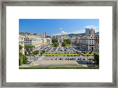 Genova - Piazza Della Vittoria Overview Framed Print