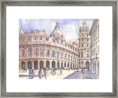 Genova Piazza De Ferrari Framed Print by Luca Massone
