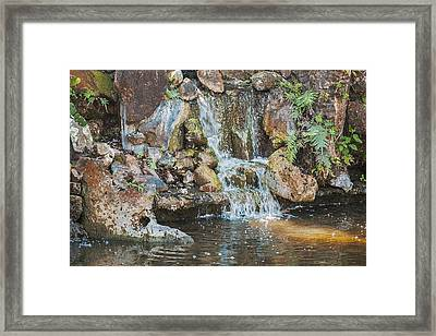 Framed Print featuring the photograph Gentle Waterfall With Sunbeam by David Coblitz