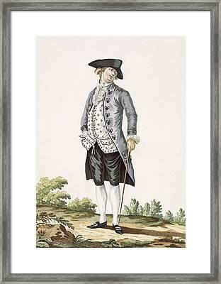 Gentleman In Grey Walking Suit Framed Print by Pierre Thomas Le Clerc