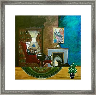 Gentleman Sitting In Wingback Chair Enjoying A Brandy Framed Print