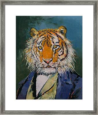 Gentleman Tiger Framed Print by Michael Creese