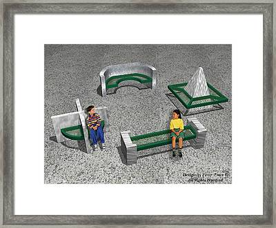 Geo Benches Framed Print by Peter Piatt