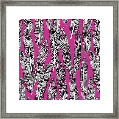 Geo Feathers Hot Pink Framed Print by Sharon Turner
