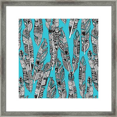 Geo Feathers Turquoise Blue Framed Print by Sharon Turner