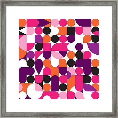 Geo Retro Pattern 01 Framed Print by Little Smilemakers Studio