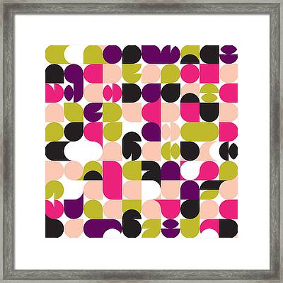 Geo Retro Pattern 02 Framed Print by Little Smilemakers Studio