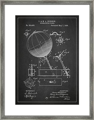 Geographical Globe Patent Drawing From 1894 Framed Print