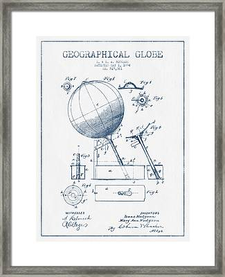 Geographical Globe Patent Drawing From 1894- Blue Ink Framed Print