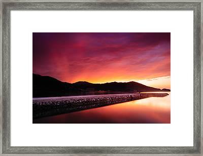 Geoje Skyfire Framed Print