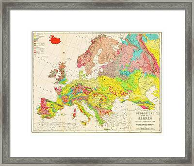 Geological Map Of Europe Framed Print by American Philosophical Society