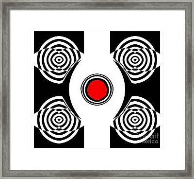 Geometric Abstract Black White Red Art No.400 Framed Print by Drinka Mercep