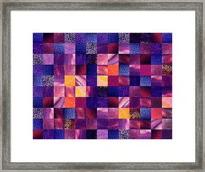 Geometric Abstract Design Purple Meadow Framed Print