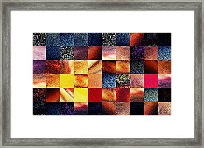 Geometric Abstract Design Sunrise Squares Framed Print by Irina Sztukowski