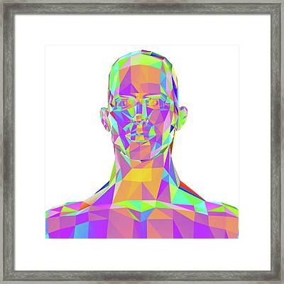 Geometric Abstract Polygonal Male Head Framed Print