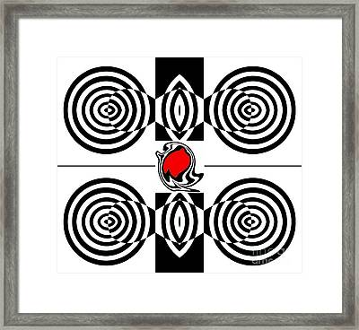 Geometric Art Black White Red Abstract No.382. Framed Print by Drinka Mercep
