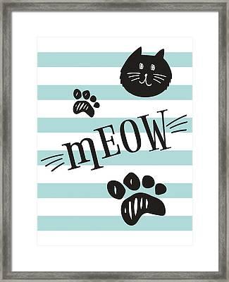 Geometric Cat Meow Framed Print