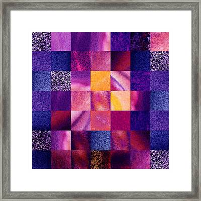 Geometric Design Squares Pattern Abstract Vi  Framed Print by Irina Sztukowski