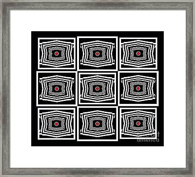 Geometric Op Art Black White Red Digital Abstract Print No.378. Framed Print by Drinka Mercep