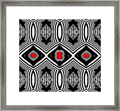 Pattern Black White Red Op Art No.389. Framed Print by Drinka Mercep
