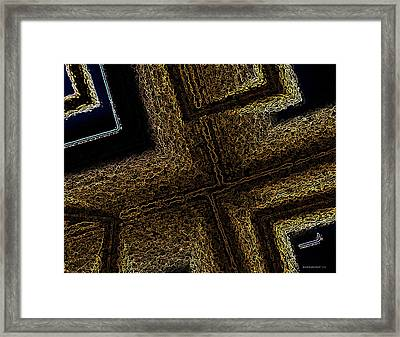 Geometric Texture And Brown Framed Print by Mario Perez