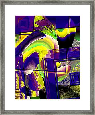 Geometrical Art With Yellow And Lilac Framed Print by Mario Perez