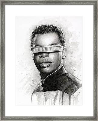 Geordi La Forge - Star Trek Art Framed Print by Olga Shvartsur