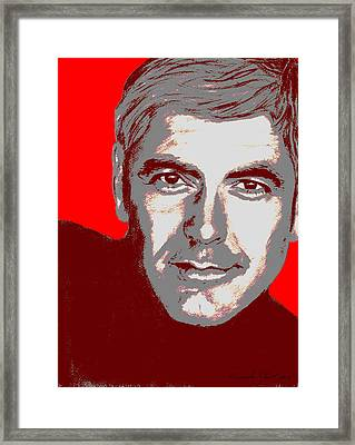 George Clooney - Individual Red Framed Print
