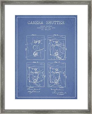 George Eastman Camera Shutter Patent From 1892 - Light Blue Framed Print by Aged Pixel