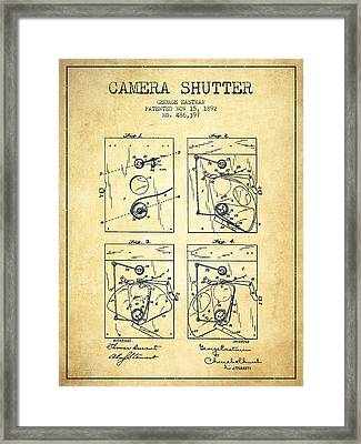 George Eastman Camera Shutter Patent From 1892 - Vintage Framed Print by Aged Pixel
