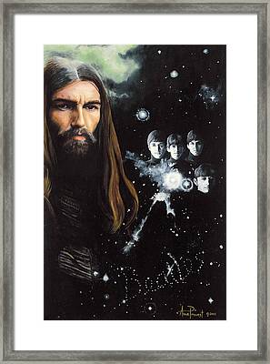George Harrison And The Beatles Framed Print by Anne Provost
