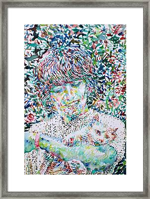 George Harrison With Cat Framed Print by Fabrizio Cassetta