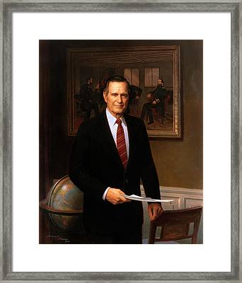George Hw Bush Presidential Portrait Framed Print by War Is Hell Store