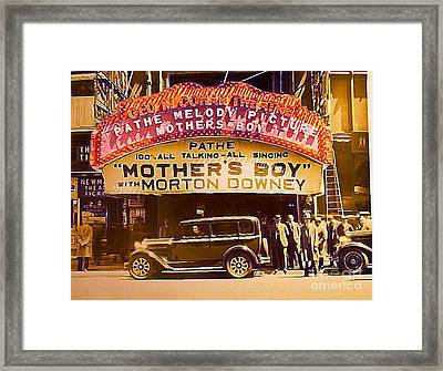 George M. Cohan Theatre In New York City In 1929 Framed Print by Dwight Goss