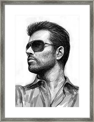 George Michael Art Drawing Sketch Portrait Framed Print by Kim Wang