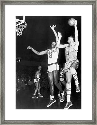 George Mikan Hook Shot Framed Print by Underwood Archives