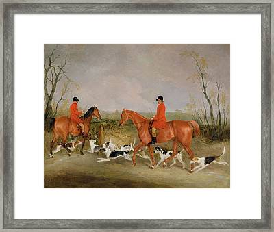 George Mountford, Huntsman To The Quorn, And W. Derry, Whipper-in, At John Ogaunts Gorse, Nr Melton Framed Print by Richard Barrett Davis