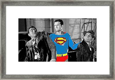 George Reeves As Superman In His 1950's Tv Show Apprehending Two Bad Guys 1953-2010 Framed Print