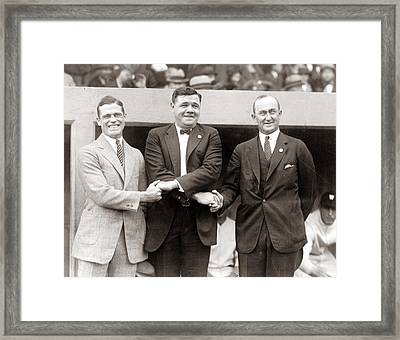 George Sisler Babe Ruth Ty Cobb Framed Print by Unknown