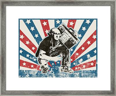 George Washington - Boombox Framed Print by Pixel Chimp