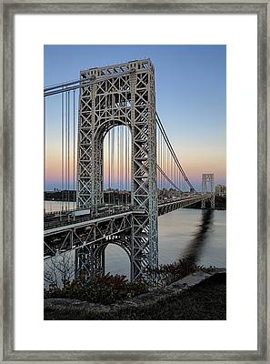 George Washington Bridge Aproaching Dusk Framed Print by Susan Candelario