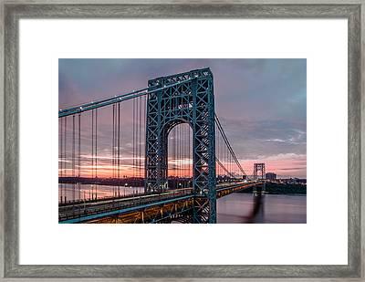George Washington Bridge At Twilight Framed Print