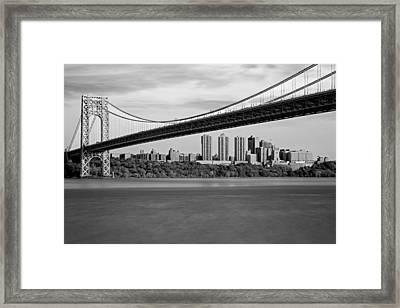 George Washington Bridge In Autumn Bw Framed Print