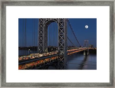 George Washington Bridge Moon Rise Framed Print