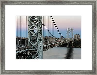 George Washington Bridge Sundown  Framed Print by Susan Candelario
