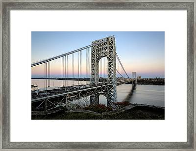 George Washington Bridge Sunset Framed Print by Susan Candelario