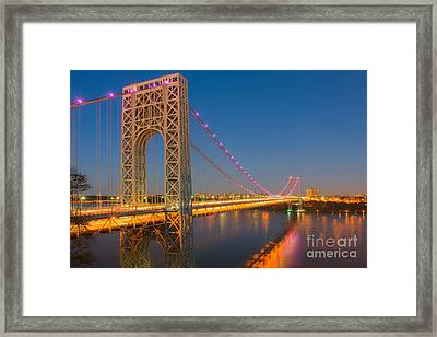 George Washington Bridge Twilight I Framed Print by Clarence Holmes