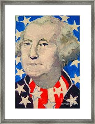 George Washington In Stars And Stripes Framed Print
