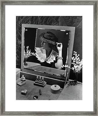 Georgette Whelan Wearing A Sally Victor Hat Framed Print by Lusha Nelson