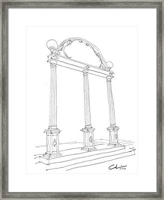 Framed Print featuring the drawing Georgia Arch by Calvin Durham